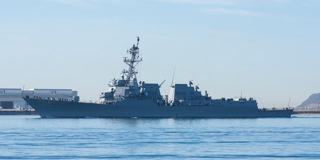 The USS Rafael Peralta , a highly advanced guided-missile destroyer, returns to San Diego in 2017 after undergoing testing at the Point Mugu Test Range.
