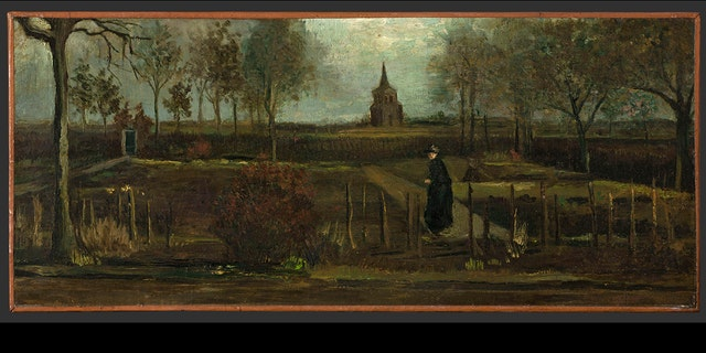 "This image provided by the Groninger Museum on Monday March 30, 2020, shows Dutch master Vincent van Gogh's painting titled ""The Parsonage Garden at Nuenen in Spring"" which was stolen from the Singer Museum in Laren, Netherlands.  (Groninger Museum via AP )"