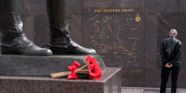 A man visits the newly opened World War I memorial in Washington.  (Associated Press)