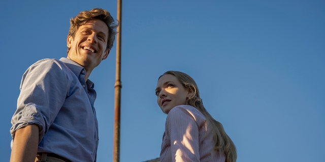 This image released by Netflix shows James Norton (L) and Amanda Seyfried (R) in a scene from 'Things Heard & Seen.'