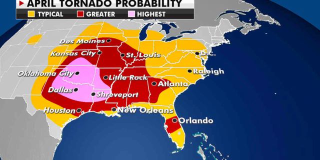 Where tornadoes are most likely to be reported this month. (Fox News)