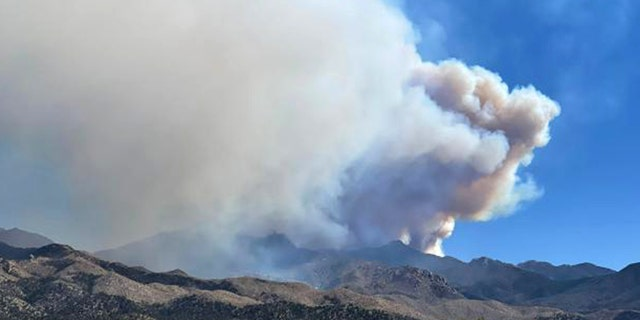 Flag Fire burning in the Hualapai Mountains, south of Kingman