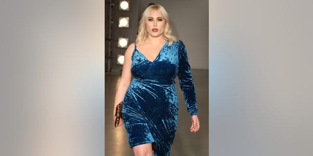 Hayley Hasselhoff walks the SimplyBe 'Curve Catwalk' during London Fashion Week on September 14, 2017, in Soho, London, England.