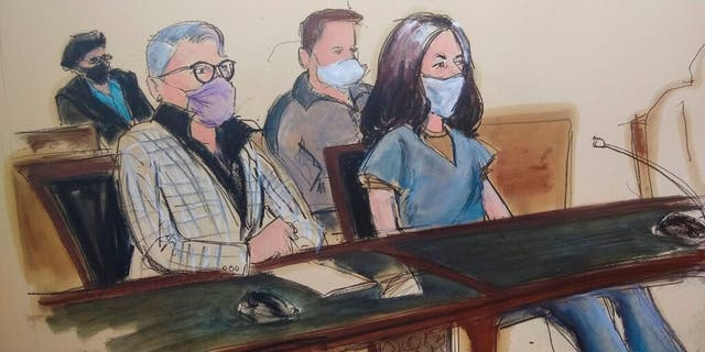 In this courtroom sketch, Ghislaine Maxwell, far right, appears in Manhattan Federal court seated next to her attorney Bobbi C. Sternheim, second from left, along with her sister Isabel Maxwell, far left, during her arraignment on a superseding indictment last week.
