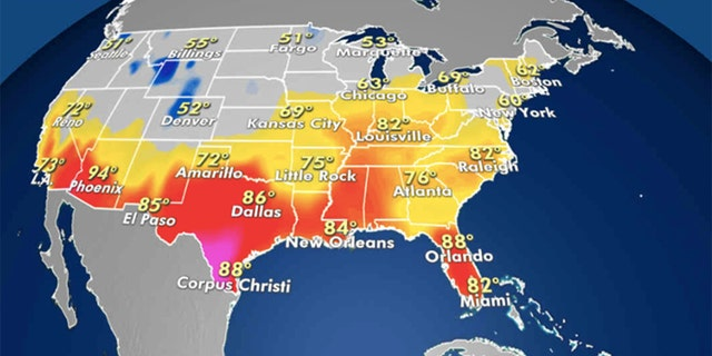 Forecast highs across the U.S. (Credit: Fox News)
