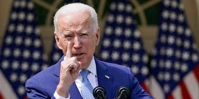 President Biden speaks about gun violence prevention in the Rose Garden at the White House, Thursday, April 8, 2021, in Washington. Biden has been the president for 100 days. (AP Photo/Andrew Harnik)