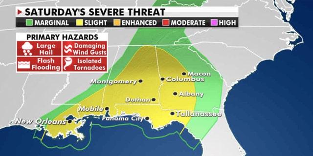 Severe threats through Saturday (Credit: Fox News)