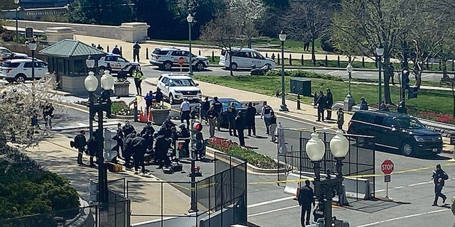 "Two stretchers have been rolled out. One went beyond my point of view - the other to the person on the ground. ""Exterior security threat"" reported at US Capitol."