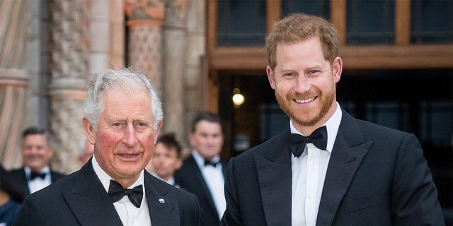 """Prince Charles, Prince of Wales and Prince Harry, Duke of Sussex attend the """"Our Planet"""" global premiere at Natural History Museum on April 04, 2019, in London, England."""