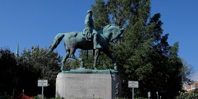 A statue of Robert E. Lee, in Charlottesville, Virginia, in 2018.
