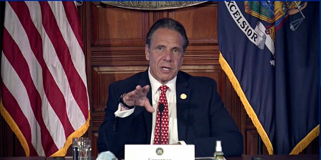 New York Gov. Andrew Cuomo speaks during a news conference about the state budget on Wednesday in Albany, N.Y. (AP/Office of the NY Governor)