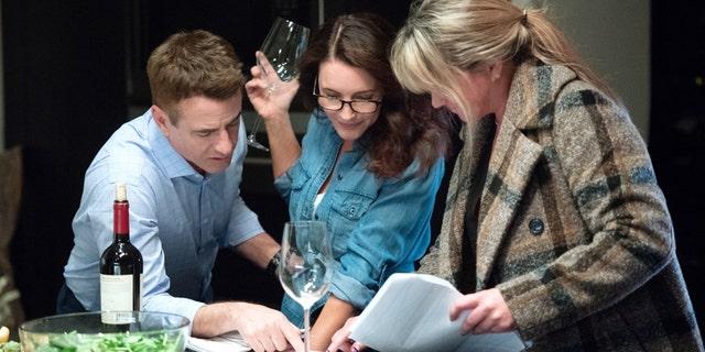 Dermot Mulroney, Kristin Davis, and writer-director Anna Elizabeth James on-set.