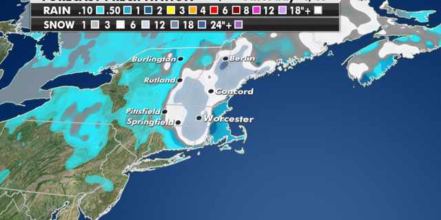 Expected snowfall totals for the Northeast through Saturday. (Fox News)