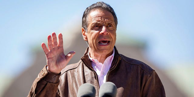 New York Gov. Andrew Cuomo speaks during a news conference, April 26, 2021 at the New York State Fair Grounds in Syracuse, New York. (N. Scott Trimble/Syracuse Post-Standard via AP)
