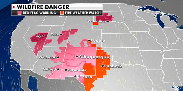 Current wildfire danger in the Southwestern U.S. (Fox News)