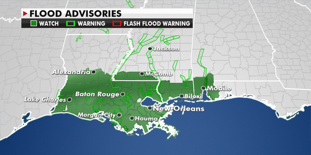 Current flood warnings in effect. (Fox News)