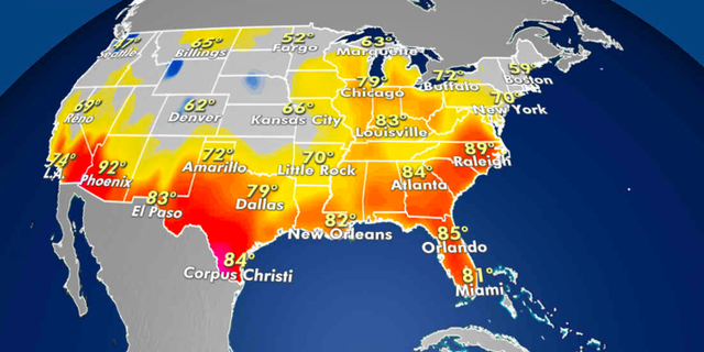 Expected high temperatures for Tuesday. (Fox News)