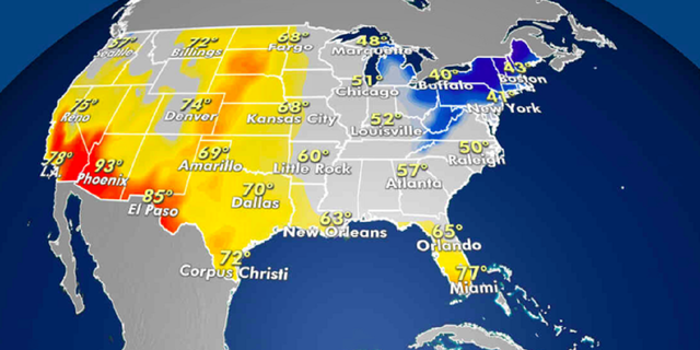 Forecasted high temperatures for Friday. (Fox News)