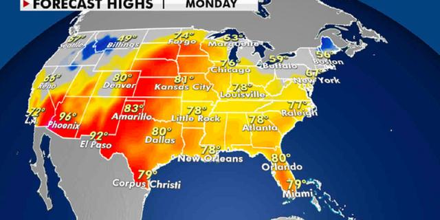 High temperatures for Monday, April 5. (Fox News)