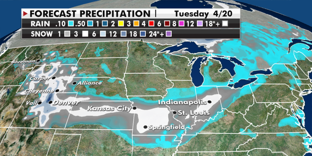 Expected snowfall totals through Tuesday. (Fox News)