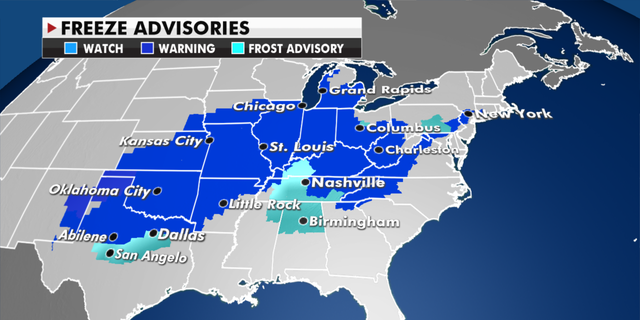 Freeze advisories currently in effect Wednesday. (Fox News)