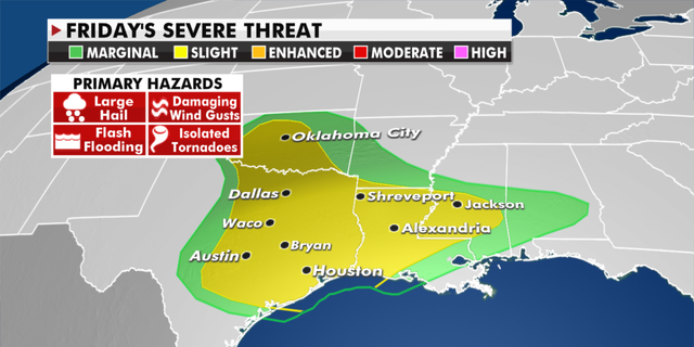 Severe weather is expected Friday in the South. (Fox News)