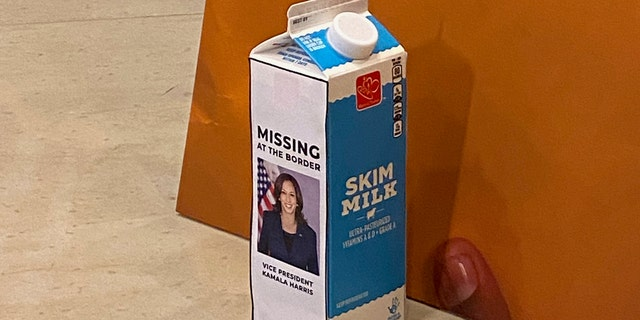 A photo of Vice President Kamala Harris appears on a milk carton as House Republicans call attention to the border crisis. (Jason Donner Capitol Hill Producer - Fox News)