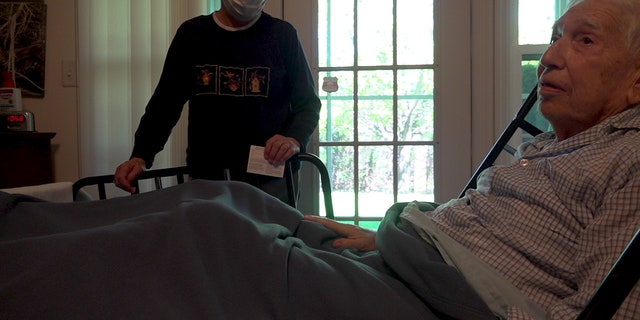 Gordon Goldberg, of Allentown, receives his second dose of a COVID-19 vaccine at home. (Katie Byrne/Fox News)