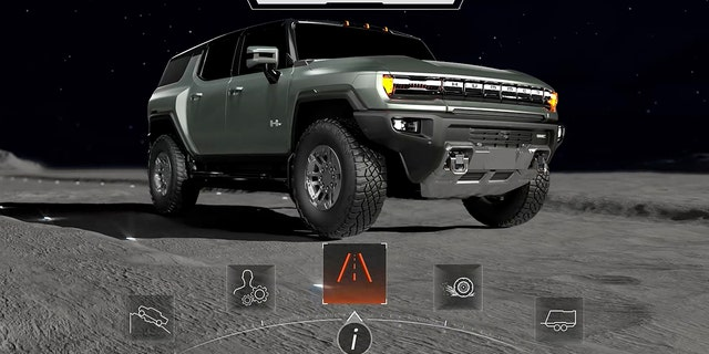 HUMMER EV's digital display animations have images in outer space.