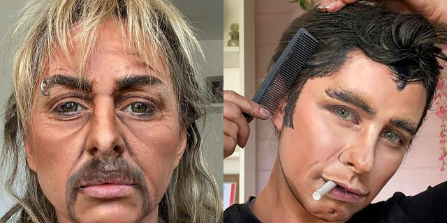 """Lacao, seen here as Joe Exotic (from """"Tiger King"""") and John Travolta (by way of Danny Zuko from """"Grease""""), claims she fooled her own boyfriend with the former look."""