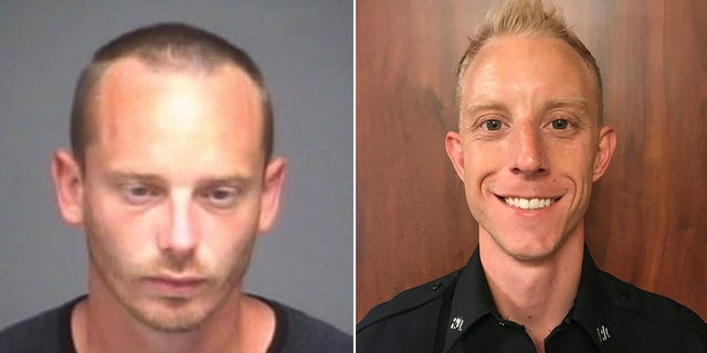 Elders, left, was arrested in connection to the shooting of Burleson Police Officer Joshua Lott, pictured right. Lott was recovering at a hospital and in stable condition, police said.