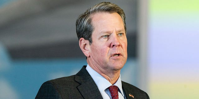 Brian Kemp, governor of Georgia, speaks during a news conference in Hapeville, Georgia, Feb. 25, 2021. (Getty Images)