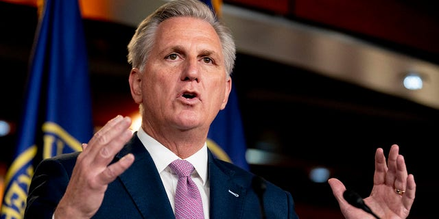House Minority Leader Kevin McCarthy of Calif., speaks during a weekly press briefing, Thursday, April 22, 2021, in Washington. (AP Photo/Andrew Harnik)