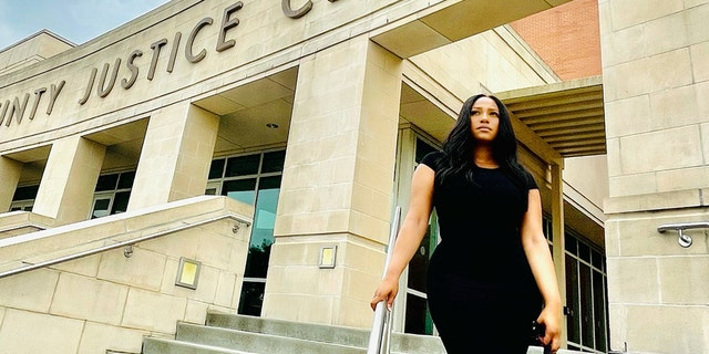 Chet Hanks ex-girlfriend Kiana Parker outside the Fort Bend County courthouse in Texas.