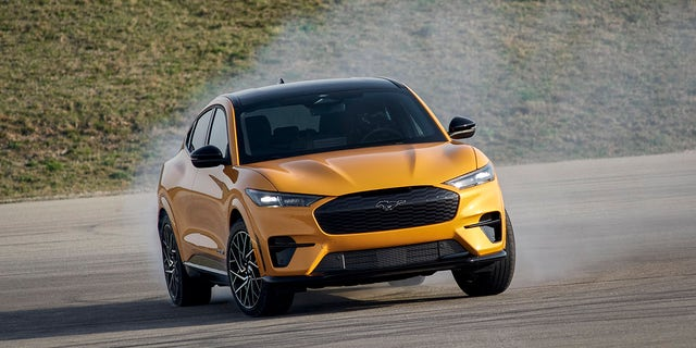 2021 Ford Mustang Mach-E GT available early fall 2021. (Closed course. Professional driver. Do not attempt.)