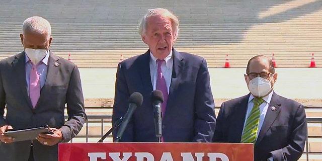 Sen. Ed Markey, D-Mass., talks about his legislation to pack the Supreme Court on April 15, 2021.