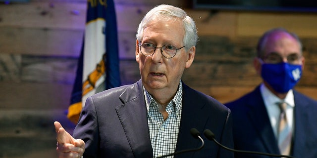 Senate Minority Leader Mitch McConnell, R-Ky., speaks during a news conference at Kroger Field in Lexington, Ky., Monday, April 5, 2021. McConnell made a rare appearance in the Senate Rules and Administration Committee Tuesday. (AP Photo/Timothy D. Easley)