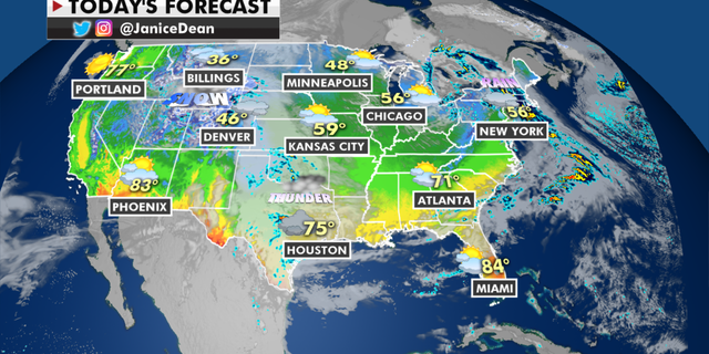 The national forecast for Thursday, April 15. (Fox News)