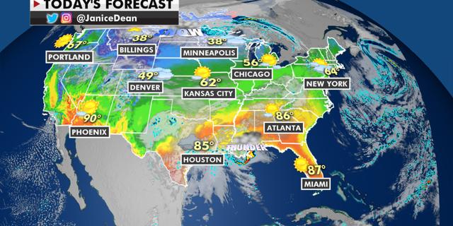 The national forecast for Tuesday, April 13. (Fox News)