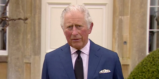 "Britain's Prince Charles addresses the media, outside Highgrove House in Gloucestershire, England, Saturday, April 10, 2021. Britain's Prince Charles says the royal family are ""deeply grateful'' for the outpouring of support they've received following the death of his father, Prince Philip."