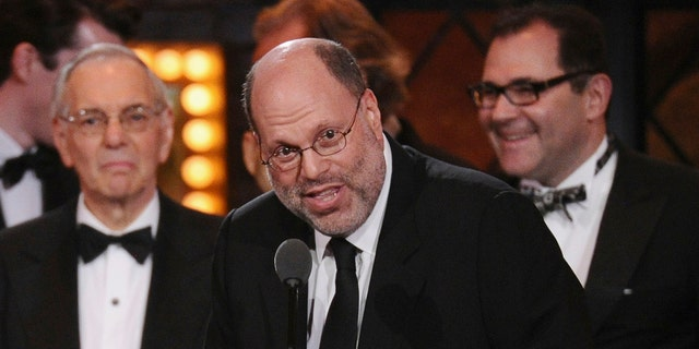 "Producer Scott Rudin accepts the award for best revival of a play for ""Skylight"" at the 69th annual Tony Awards in New York on June 7, 2015. Rudin, one of the most successful and powerful producers, with a heap of Oscars and Tonys to show for it, has long been known for his torturous treatment of an ever-churning parade of assistants."