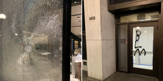 Some of the vandalism last night during demonstrations in Seattle. (Seattle Police Department)