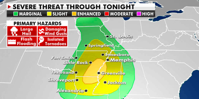 The current risk of severe weather. (Fox News)