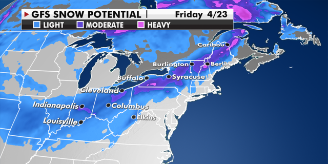 Snow potential for the Midwest and Northeast later this week. (Fox News)
