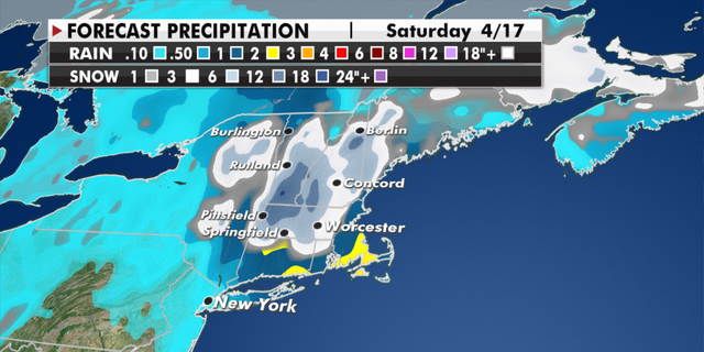 Expected snowfall totals in the Northeast through Saturday. (Fox News)
