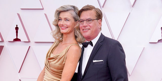 Paulina Porizkova and Aaron Sorkin debuted their relationship at the 93rd Annual Academy Awards at Union Station on April 25, 2021, in Los Angeles, Calif.