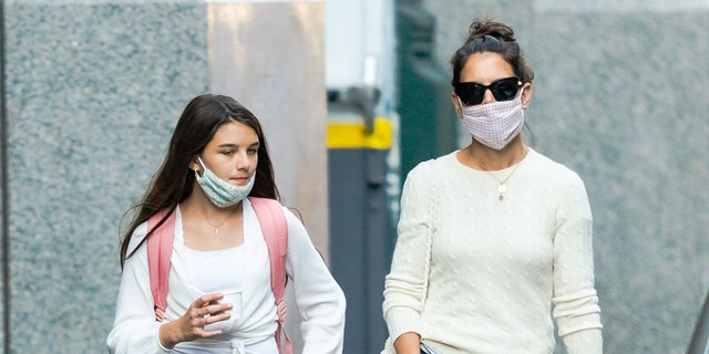 Suri Cruise and Katie Holmes are seen on September 08, 2020 in New York City.