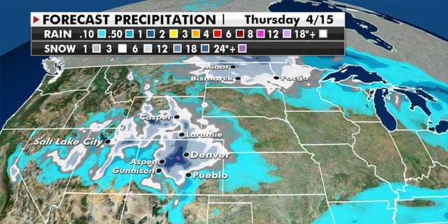 At least a foot of snow is expected to drop in the Rockies.