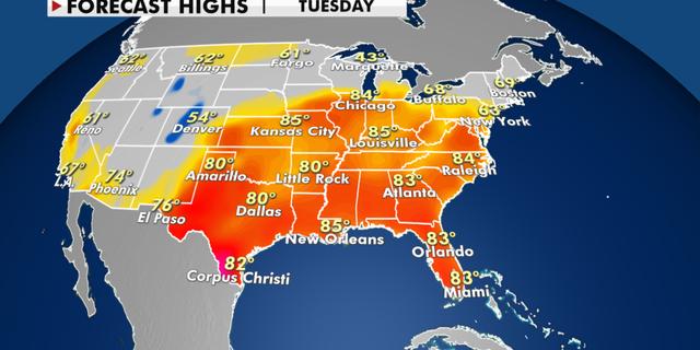 Forecast high temperatures for Tuesday. (Fox News)