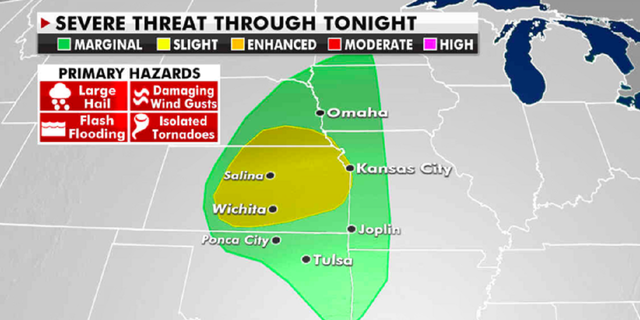The severe weather threat through Tuesday. (Fox News)
